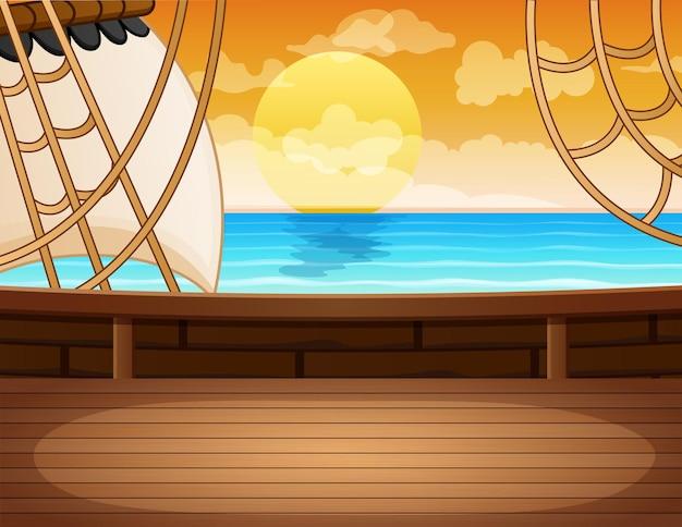 Vue du paysage marin depuis le pont en bois du bateau pirate