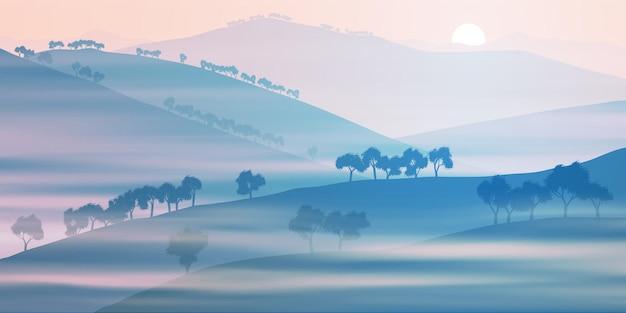 Vue du soir avec le soleil se couche derrière les collines