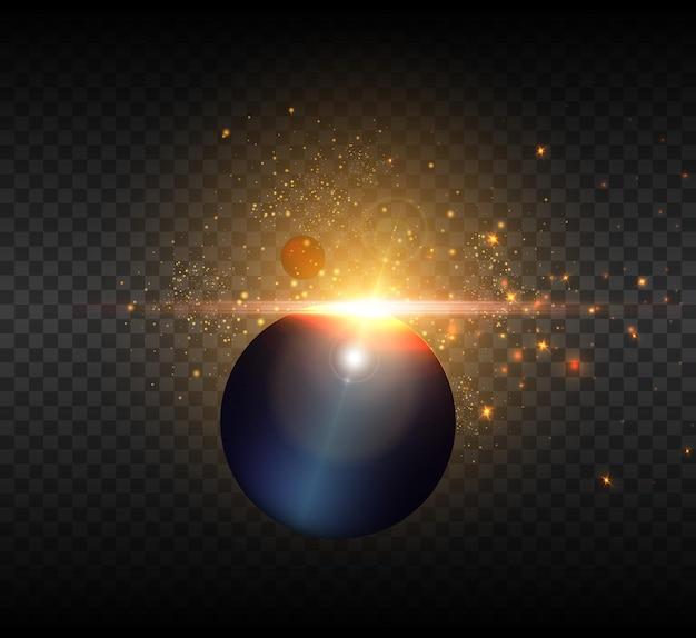 Vue du soleil depuis l'espace avec des rayons lumineux et des reflets.