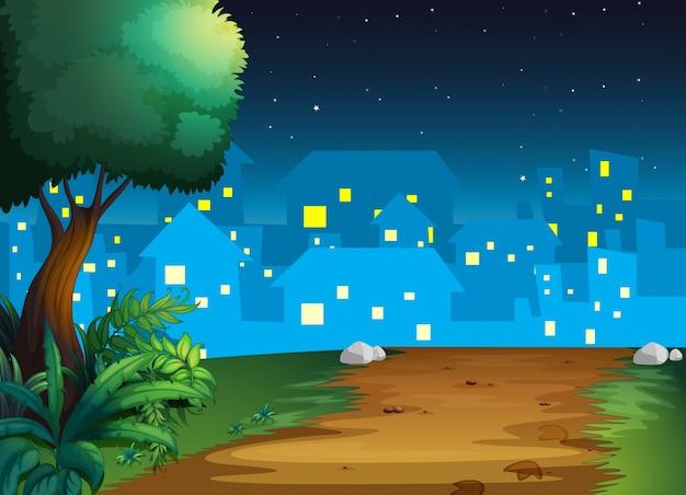 Une vue du village au milieu de la nuit