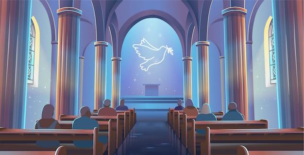 Vue de l'église cathédrale à l'intérieur. intérieur de l'église catholique avec des gens et une colombe de la paix. illustration vectorielle de dessin animé