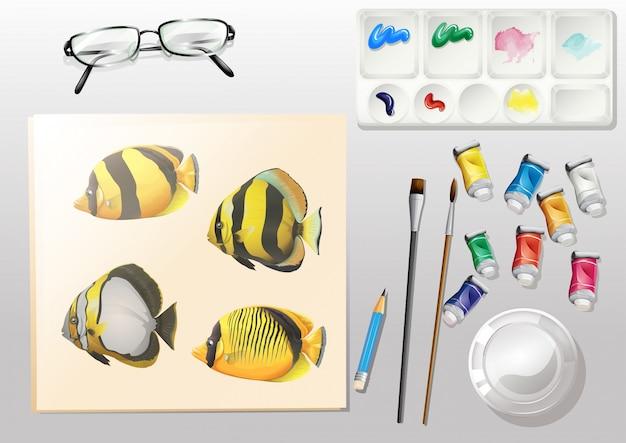 Une vue d'ensemble d'une peinture et des différents matériaux de peinture