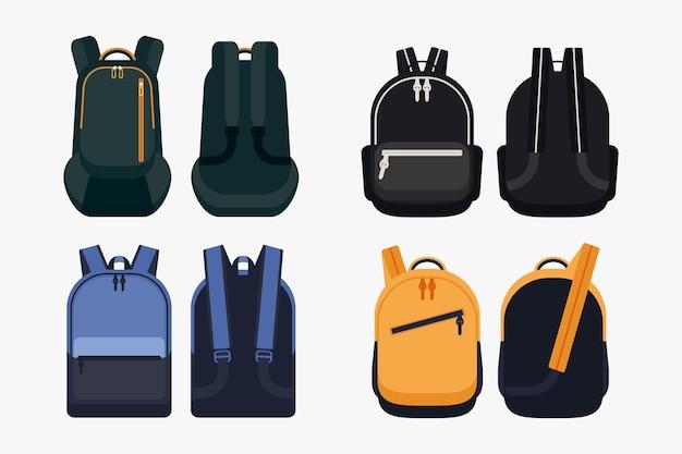 Vue de face et angle de vue arrière du sac à dos scolaire
