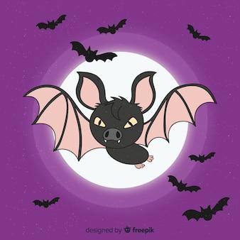 Vue de face de chauve-souris en colère avec la pleine lune