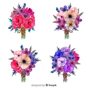 Vue de face de la collection de bouquet de fleurs tropicales