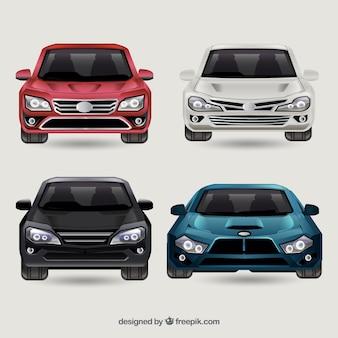 Vue de face de différentes voitures