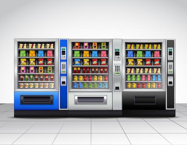 Vue de face des distributeurs automatiques réalistes