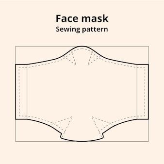 Vue de face du patron de couture du masque facial