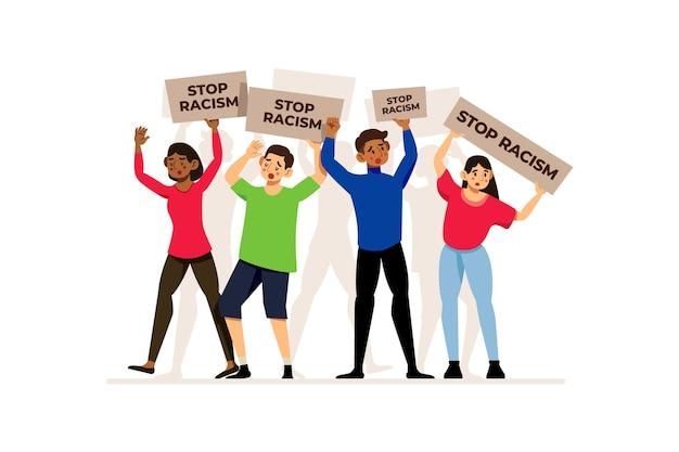 Vue de face des gens qui défendent leurs droits