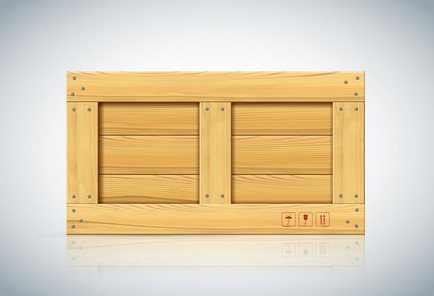 Vue de face de la grande boîte en bois sur fond blanc