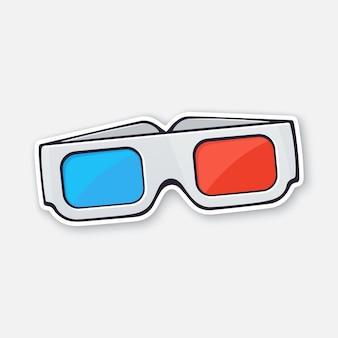 Vue de face de lunettes 3d en papier lunettes rétro stéréo illustration vectorielle