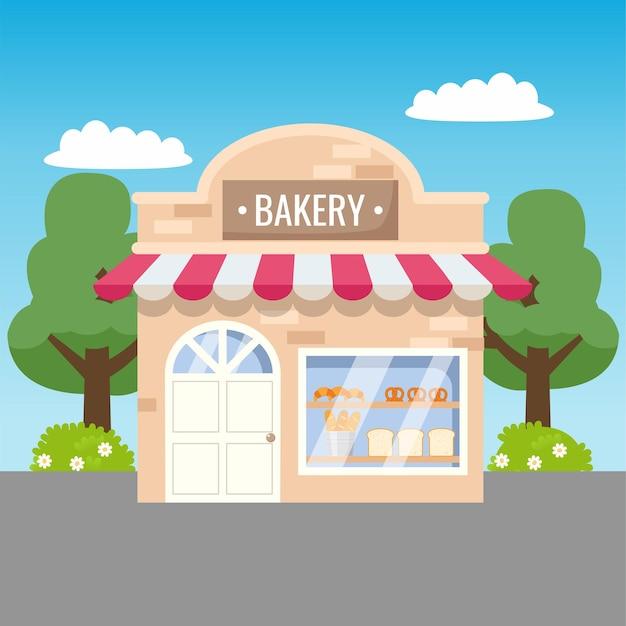Vue de face de magasin de boulangerie mignon conception de dessin animé de vecteur plat