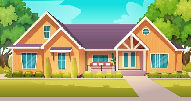 Vue de face de maisons avec arbres et herbe