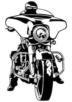 Vue de face d'un motocycliste noir et blanc