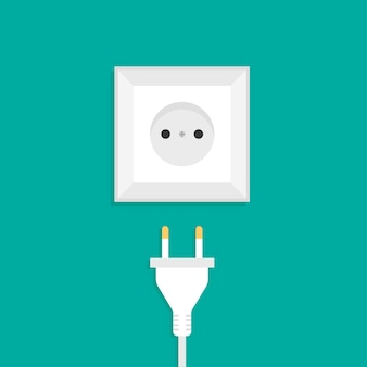 Vue de face de la prise et de la prise de courant alternatif international blanc
