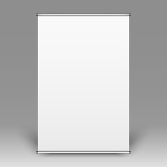 Vue de face réaliste de flipchart vide sur fond gris