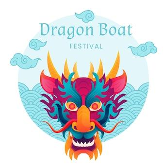 Vue de face tête de dragon et d'eau
