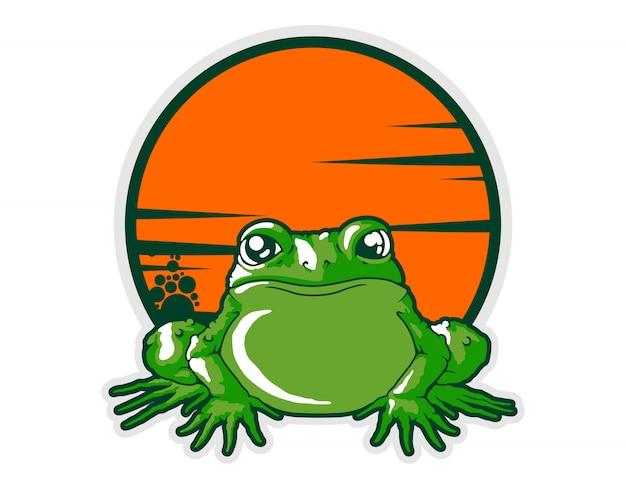 Vue de face de vecteur de dessin animé de grenouille