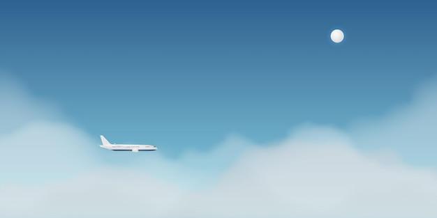 Vue de la fenêtre de l'avion avec beau ciel nocturne