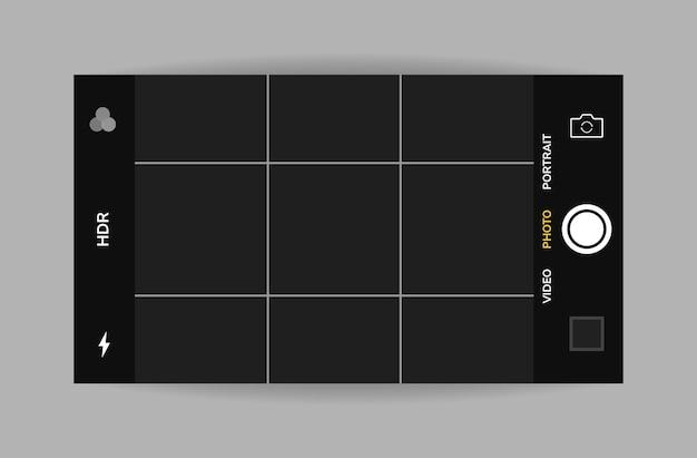 Vue horizontale de l'interface de la caméra du téléphone. application d'application mobile. prise de photos. graphique.