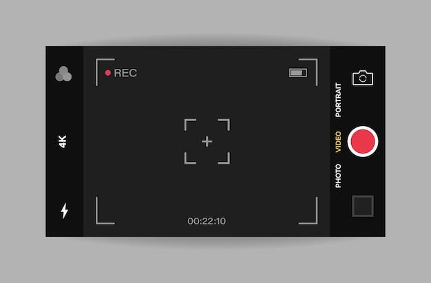 Vue horizontale de l'interface de la caméra du téléphone. application d'application mobile. tournage vidéo. graphique.
