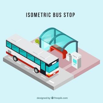 Vue isométrique de l'arrêt de bus et de bus avec un design plat