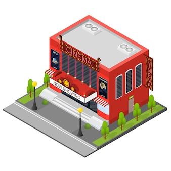 Vue isométrique de bâtiment de cinéma façade extérieure moderne pour les entreprises de cinéma cinématographique