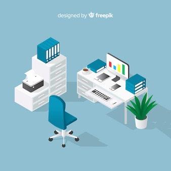 Vue isométrique de bureau professionnel