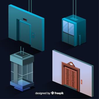 Vue isométrique de la collection d'ascenseurs moderne