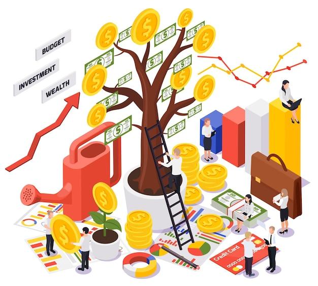 Vue isométrique colorée de la gestion de patrimoine