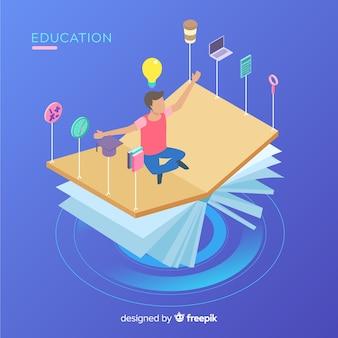 Vue isométrique du concept de l'éducation moderne