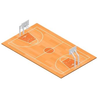 Vue isométrique du sport de terrain de basket-ball.