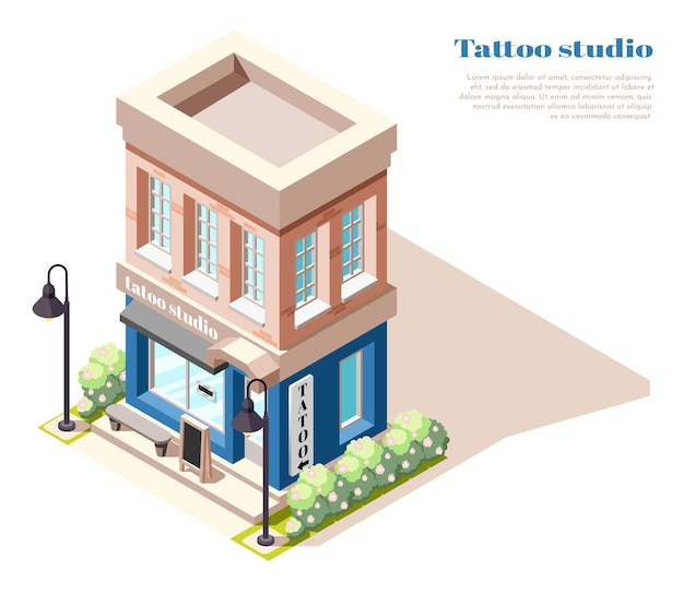 Vue isométrique du studio de tatouage à deux étages