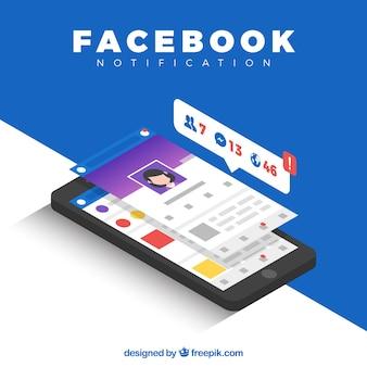 Vue isométrique du téléphone mobile avec des notifications facebook