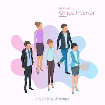 Vue isométrique des employés de bureau avec un design plat