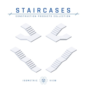 Vue isométrique des escaliers dans un style plat.