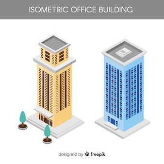 Vue isométrique des immeubles de bureaux modernes