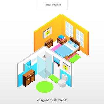 Vue isométrique de l'intérieur de la maison moderne