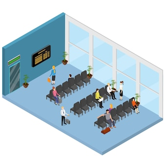 Vue isométrique de l'intérieur de la salle d'attente pour l'aéroport, le bureau, la clinique ou la gare avec des personnes et des meubles.