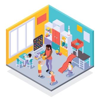 Vue isométrique intérieure de l'environnement d'apprentissage ludique de la classe de la maternelle avec des enfants se déplaçant en jouant avec l'enseignant
