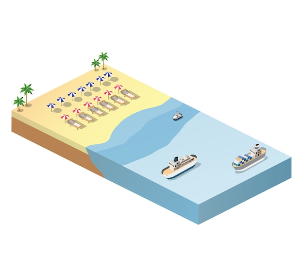 Vue isométrique de la plage ensoleillée avec parasols, chaises longues et mer bleue avec des navires