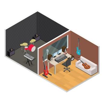 Vue isométrique de studio d'enregistrement de musique sonore professionnelle d'intérieur avec mobilier et équipement. illustration vectorielle
