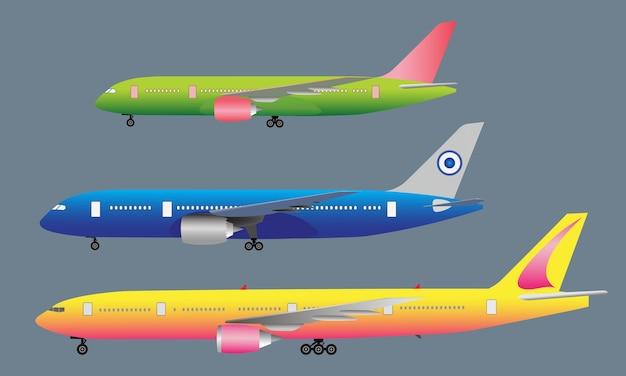 Vue latérale des avions de passagers