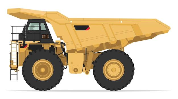 Vue latérale du camion à benne minière