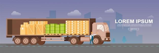 Vue latérale du camion d'entrepôt à livraison sécurisée ouverte