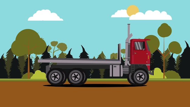 Vue latérale du camion rouge avec scène de la nature
