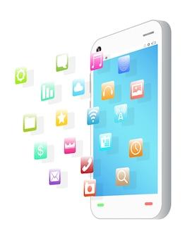Vue latérale du smartphone avec l'icône de l'application flottante