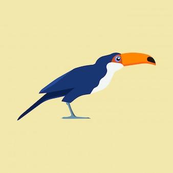 Vue latérale du toucan bleu