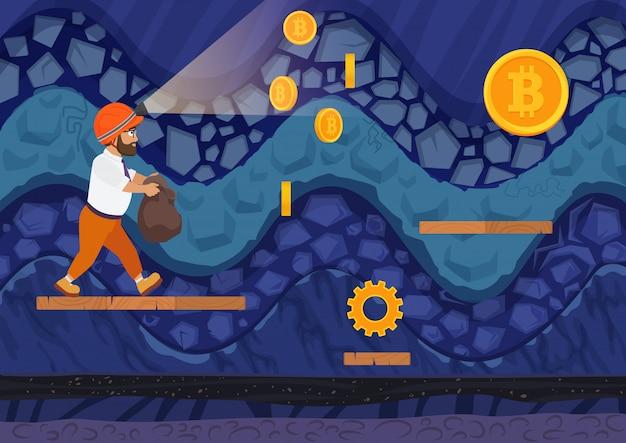 Vue latérale d'un homme marchant avec un sac de bitcoins dans le mien. style de jeu de dessin animé