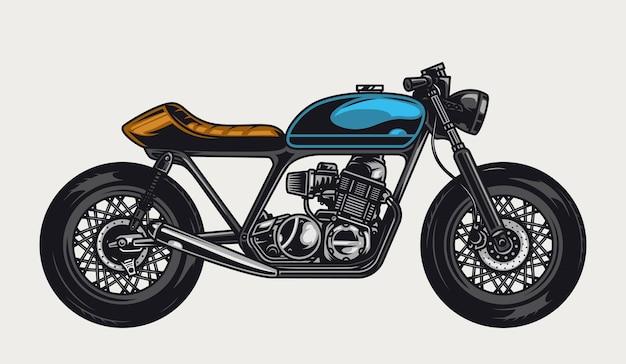 Vue latérale de la moto colorée dans un style vintage isolé